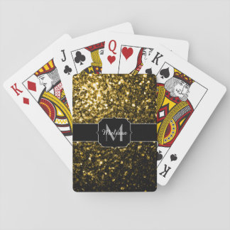 Beautiful Yellow Gold sparkles Monogram Playing Cards