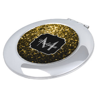 Beautiful Yellow Gold sparkles Monogram Vanity Mirror