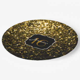 Beautiful Yellow Gold sparkles Sweet 16 Paper Plate
