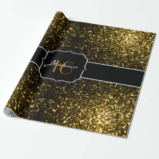 Beautiful Yellow Gold sparkles Sweet 16 wrap paper Wrapping Paper