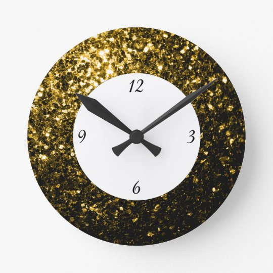 Beautiful Yellow Gold sparkles with numbers Round Clock