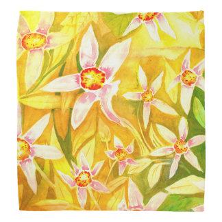 Beautiful Yellow & Green Floral Watercolor Bandana
