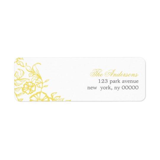 Beautiful Yellow & Grey Floral Wedding Return Address Label