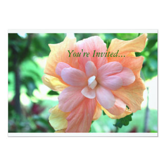 Beautiful Yellow, Orange and Pink Hibiscus Flower 13 Cm X 18 Cm Invitation Card