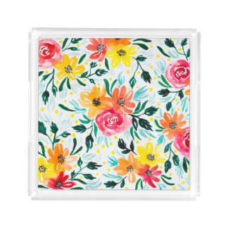 Beautiful Yellow Pink Floral Watercolor Design Acrylic Tray