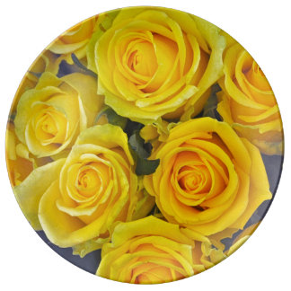 Beautiful yellow roses plate