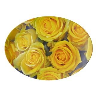 Beautiful yellow roses porcelain serving platter