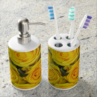 Beautiful yellow roses soap dispenser and toothbrush holder