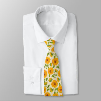 Beautiful yellow Summer Sunflowers pattern. Tie