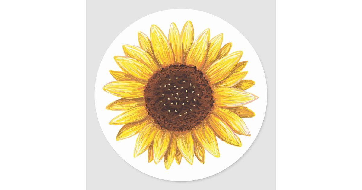 beautiful yellow sunflower drawing stickers