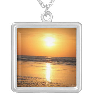Beautiful Yellow Sunset 2 Silver Plated Necklace