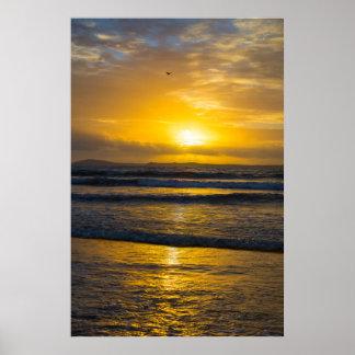 beautiful yellow sunset at beal beach poster