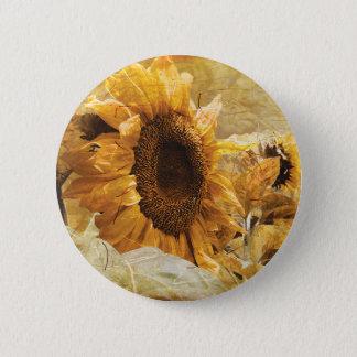 Beautiful Yellow Texture Giant Sunflower Photo Art 6 Cm Round Badge