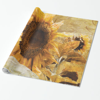 Beautiful Yellow Texture Giant Sunflower Photo Art Wrapping Paper