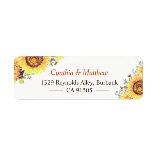 Beautiful Yellow White Sunflowers Elegant Chic Return Address Label
