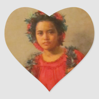 Beautiful Young Lei Seller  In Old Hawaii Heart Sticker