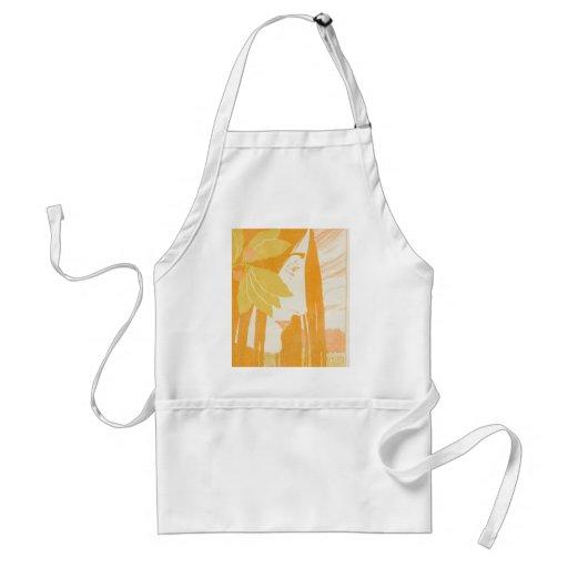 Beautiful  young women, art noveau print apron