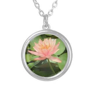 Beautiful Zen Lotus Flower Silver Necklace
