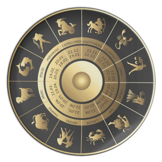 Beautiful Zodiac Signs Plate in Gold and Black