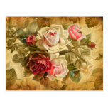 Beautifull bunch of roses on vintage background post cards
