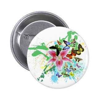 beautifull color spalsh lilly and butterflies 6 cm round badge