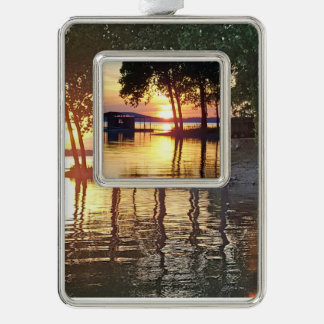 Beautifull Sunset On the Lake Landscape Silver Plated Framed Ornament