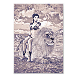 Beauty and Lion Art Photo