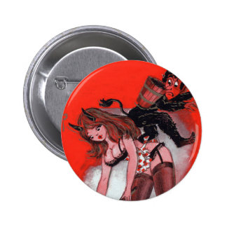 Beauty and the Krampus Vintage Xmas Christmas 6 Cm Round Badge