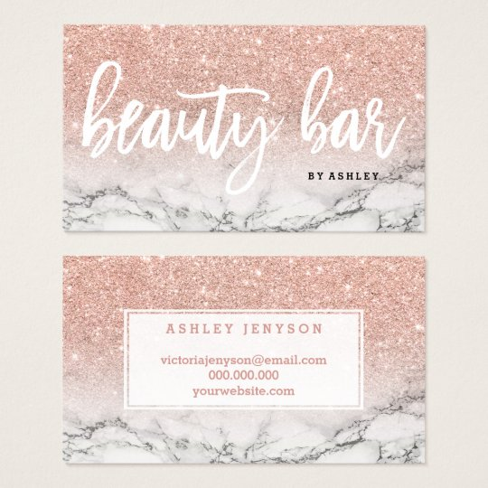 Beauty bar typography rose gold glitter marble business