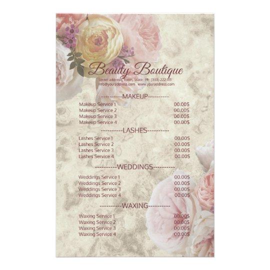 Beauty Boutique Cream Flower Elegant Price List Flyer