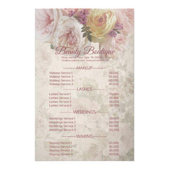 Beauty Boutique Cream Flower Price List Flyer
