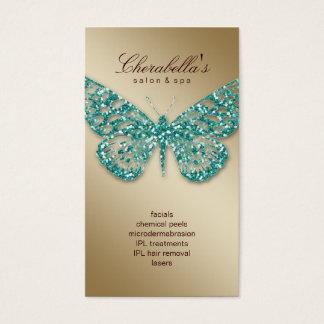 Beauty Business Card Salon Butterfly Teal Gold