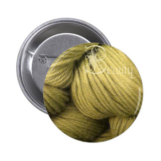 beauty button, green silk 6 cm round badge
