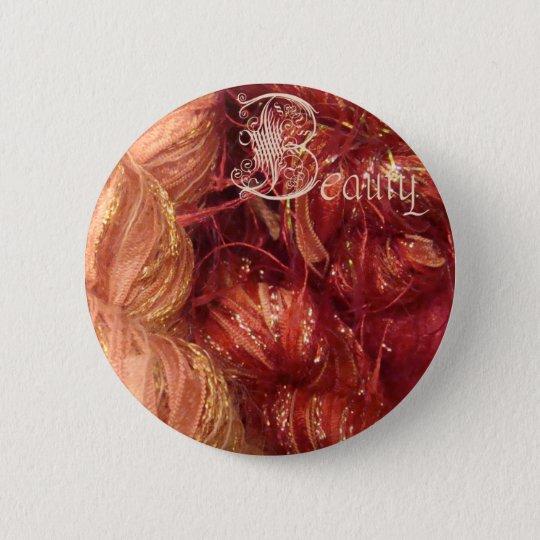 beauty button, pink sparkle 6 cm round badge