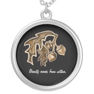 Beauty comes from within: Acorn Silver Plated Necklace