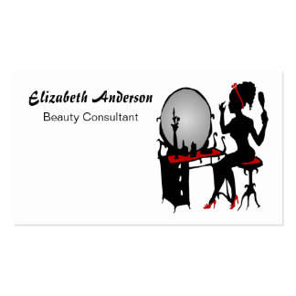 Beauty Consultant Classy Red Black Hair Salon Pack Of Standard Business Cards