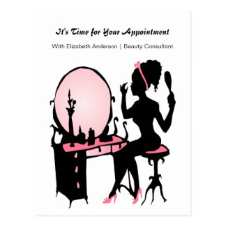 Beauty Consultant Girly Girl Appointment Reminder Postcard