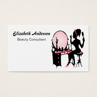 Beauty Consultant Girly Pink Black Hair Salon Business Card