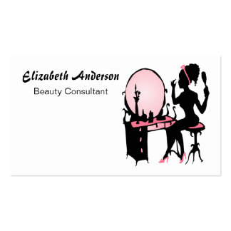 Beauty Consultant Girly Pink Black Hair Salon Pack Of Standard Business Cards