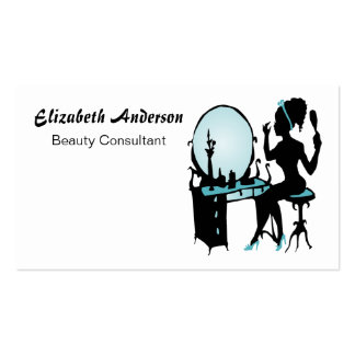Beauty Consultant Girly Teal Black Hair Salon Pack Of Standard Business Cards