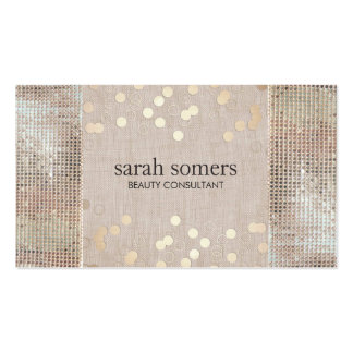 Beauty Consultant Gold Confetti Sequins and Linen Pack Of Standard Business Cards