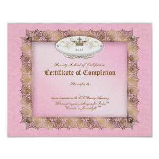 Beauty Diploma Certificate of Completion Pink Gold Poster