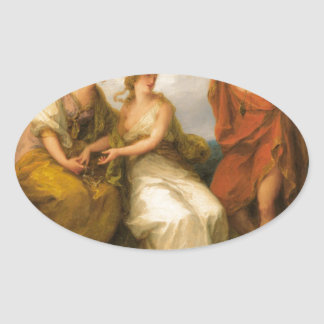 Beauty Directed by Prudence by Angelica Kauffman Oval Sticker