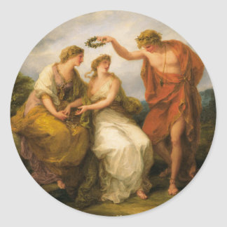 Beauty Directed by Prudence by Angelica Kauffman Round Sticker