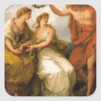Beauty Directed by Prudence by Angelica Kauffman Square Sticker