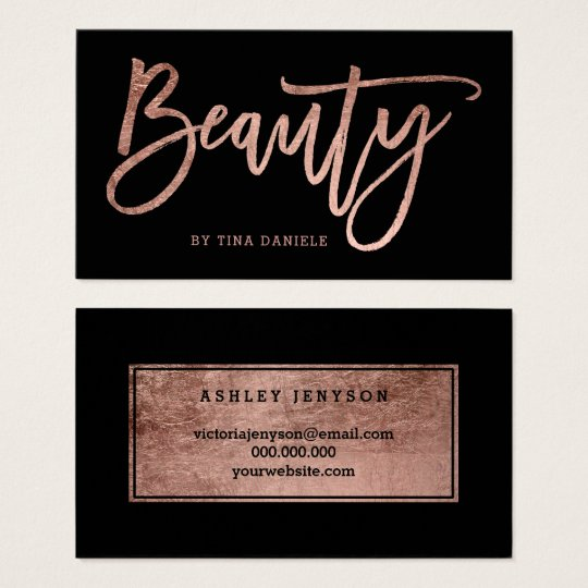 Beauty elegant faux rose gold typography black business
