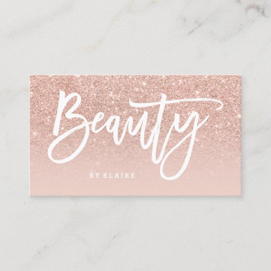 Beauty Elegant Typography Blush Ombre Rose Gold Business Card