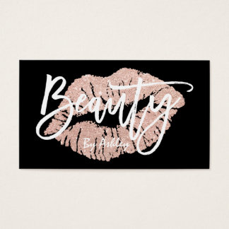 Beauty faux rose gold glitter lips typography business card