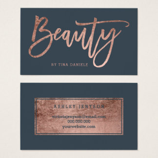 Beauty faux rose gold typography charcoal business card