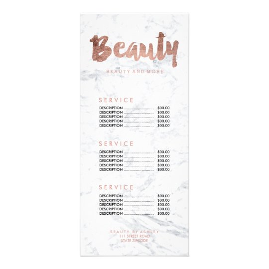 Beauty FAUX rose gold typography marble price list